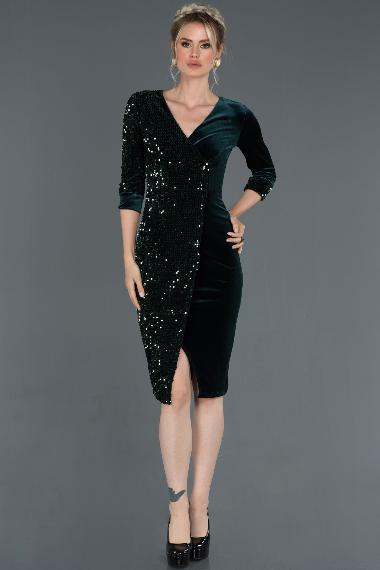 Short Emerald Green Velvet Evening Dress Abk704 Abiyefon Com