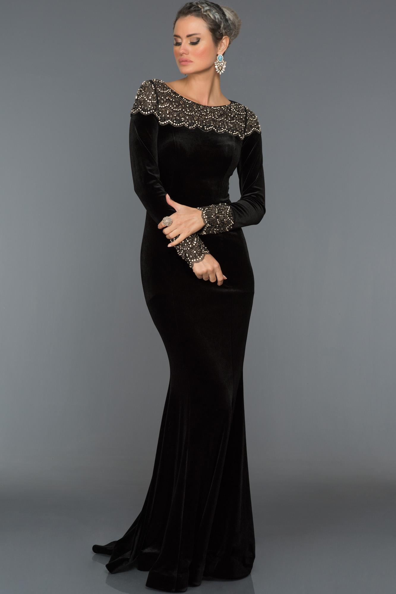 Long Black Velvet Evening Dress F4338 Abiyefon Com