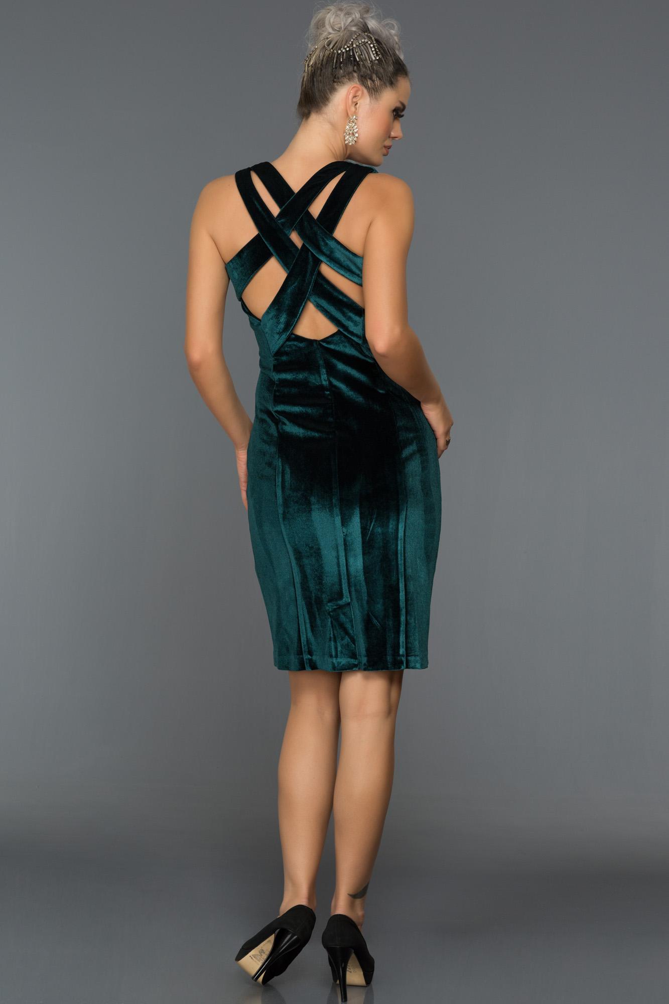Short Emerald Green Velvet Evening Dress L8026 Abiyefon Com
