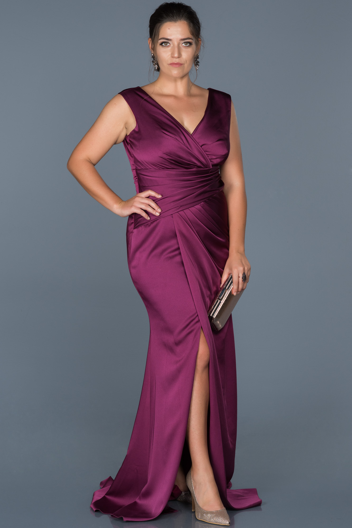 a59e7e07a5f Purple Plus Size Evening Gown
