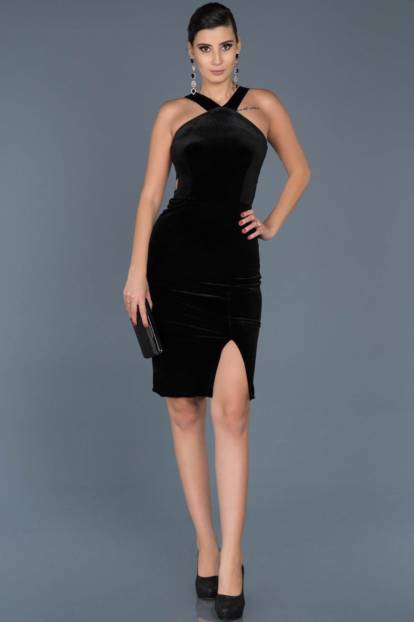 b4a8e1845f1 Short Black Velvet Evening Dress ABK261