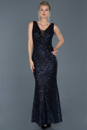 Long Black-Sax Blue Mermaid Prom Dress ABU882