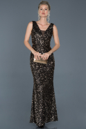 Long Black-Salmon Mermaid Prom Dress ABU882