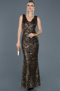 Long Black-Gold Mermaid Prom Dress ABU882