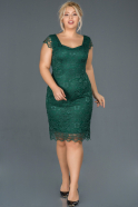 Short Emerald Green Oversized Evening Dress ABK010
