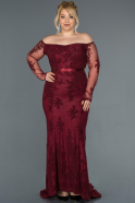Burgundy Long Plus Size Evening Dress ABU1375