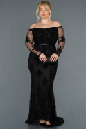 Black Long Plus Size Evening Dress ABU1375