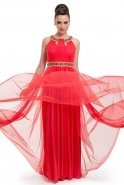 Long Coral Evening Dress S4098