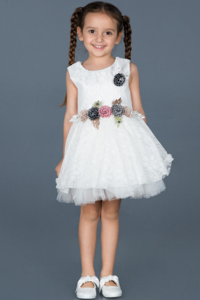 Short White Girl Dress ABK539