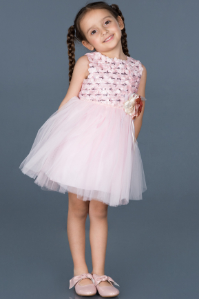 Short Powder Color Girl Dress ABK543