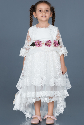 Short White Laced Girl Dress ABK556