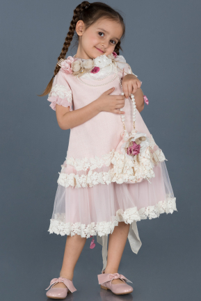 Short Powder Color Laced Girl Dress ABK556