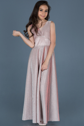 Long Powder Color Girl Dress ABU777