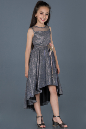 Long Anthracite Girl Dress ABU787