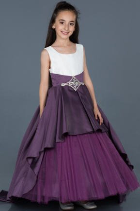 Long Dark Purple Girl Dress ABU789