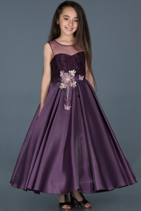 Long Dark Purple Girl Dress ABU791
