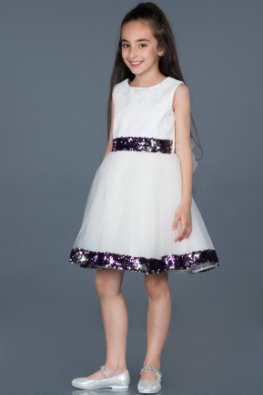 Short White Girl Dress ABK564