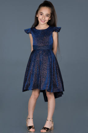 Short Navy Blue Girl Dress ABK565