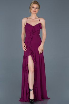 Long Plum Prom Gown ABU804