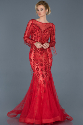 Long Red Engagement Dress ABU805