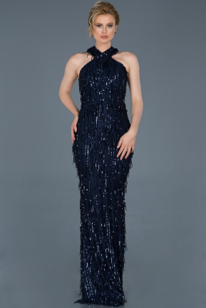 Long Navy Blue Mermaid Prom Dress ABU803