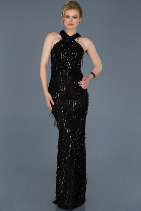 Long Black Mermaid Prom Dress ABU803