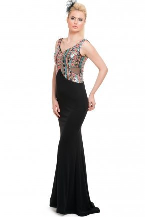 Long Orange-Black Evening Dress C7171