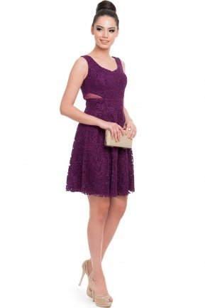 Short Purple Evening Dress C8029