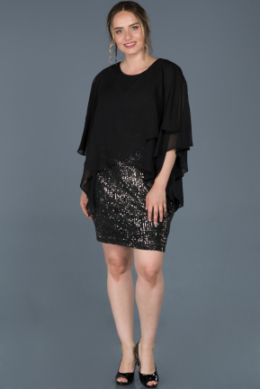Short Black-Silver Oversized Evening Dress ABK585