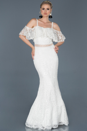 Long White Laced Prom Gown ABU836