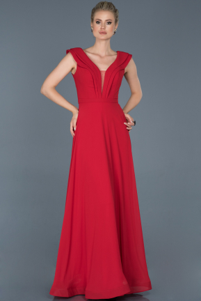 Long Red Engagement Dress ABU853