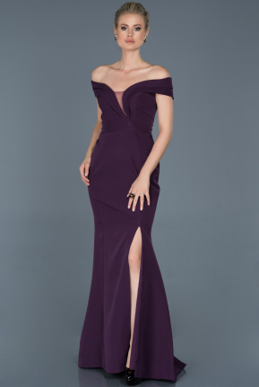 Long Dark Purple Evening Dress ABU870