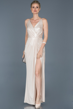 Long Gold Satin Prom Gown ABU857