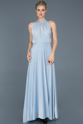Long Light Blue Prom Gown ABU818