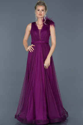Long Dark Purple Evening Dress ABU823