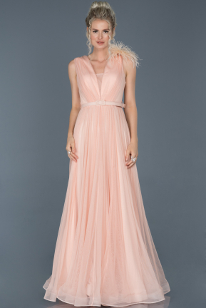 Long Salmon Evening Dress ABU823
