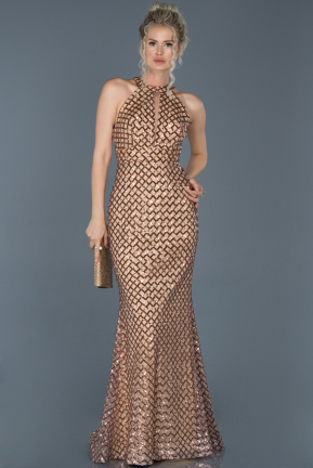 Long Gold Mermaid Prom Dress ABU966