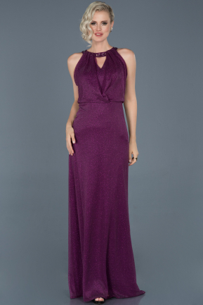 Long Plum Prom Gown ABU725