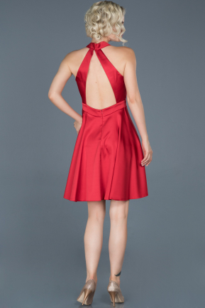 Short Red Satin Prom Gown ABK493