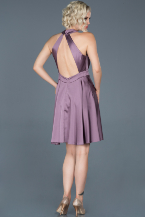 Short Lavender Satin Prom Gown ABK493