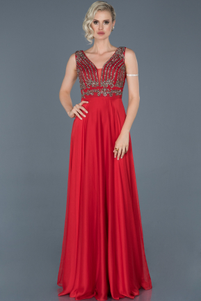 Long Red Engagement Dress ABU887