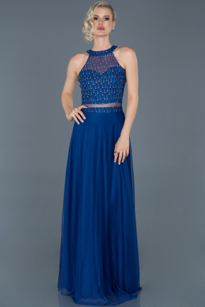 Sax Blue Long Engagement Dress ABU766