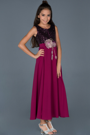 Long Plum Girl Dress ABU896