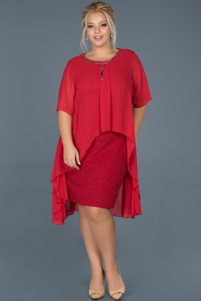 Red Short Plus Size Evening Dress ABK063