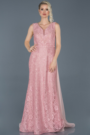Long Powder Color Laced Evening Dress ABU909