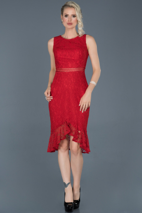 Short Red Laced Evening Dress ABK616