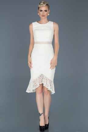 Short White Laced Evening Dress ABK616