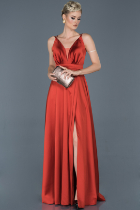 Orange Long Satin Engagement Dress ABU807