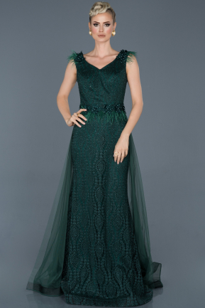 Long Emerald Green Laced Engagement Dress ABU1059