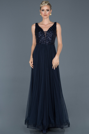 Long Navy Blue Engagement Dress ABU934